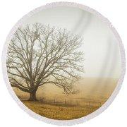 Tree In Fog - Blue Ridge Parkway Round Beach Towel