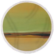 Round Beach Towel featuring the painting Ghost Ranch by Michelle Abrams