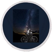 Ghost Rider Under The Milky Way. Round Beach Towel