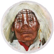 Ghost Shaman Round Beach Towel