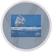 Ghost Ship On The Treasure Coast Round Beach Towel