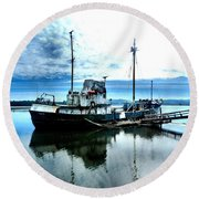 Ghost Ship Trawler - 2 Round Beach Towel by Sadie Reneau