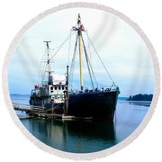 Ghost Ship - Trawler Round Beach Towel by Sadie Reneau
