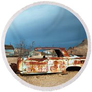 Ghost Town Old Car Round Beach Towel by Catherine Lau