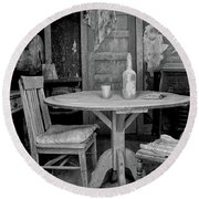 Round Beach Towel featuring the photograph Ghost Town Table by Tom Singleton