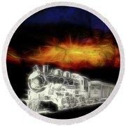 Round Beach Towel featuring the digital art Ghost Train by John Haldane