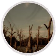 Round Beach Towel featuring the photograph Ghostly Trees by Douglas Barnard