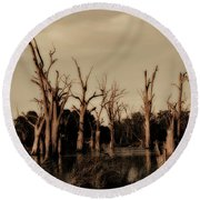 Round Beach Towel featuring the photograph Ghostly Trees V2 by Douglas Barnard