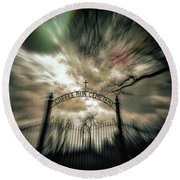 Ghostly Winter Cemetery Round Beach Towel