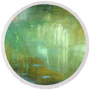 Round Beach Towel featuring the painting Ghosts In The Water by Michal Mitak Mahgerefteh