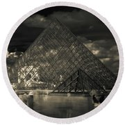 Ghosts Of The Louvre Round Beach Towel