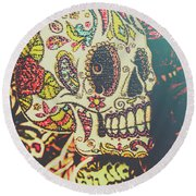 Ghoul Of Gothic Glam  Round Beach Towel