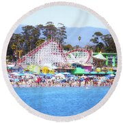 Life Is Like A Rollercoaster Round Beach Towel