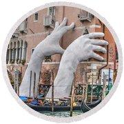 Giant Hands Venice Italy Round Beach Towel