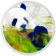 Round Beach Towel featuring the painting Giant Panda Bear Eating Bamboo by Lanjee Chee