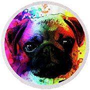 Giant Pug Watercolor Print  Round Beach Towel