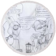 Giant Space Ants And Aliens Drink Coffee And Discuss Humans. Round Beach Towel