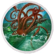 Giant Squid And Nautilus Round Beach Towel