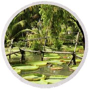 Giant Waterlily Paddies Vietnam Round Beach Towel by For Ninety One Days