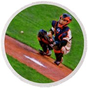 Giants Buster Posey Gets Fast Ball Round Beach Towel