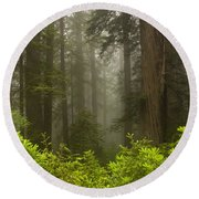 Giants In The Mist Round Beach Towel
