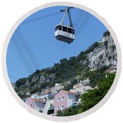 Round Beach Towel featuring the photograph Gibraltar Cable Car by Phil Banks