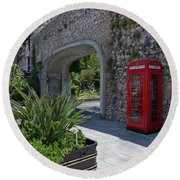 Round Beach Towel featuring the photograph Gibraltar - Phone Box At Referendum Gate by Phil Banks