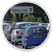 Round Beach Towel featuring the photograph Gibraltar - Traffic Queue by Phil Banks