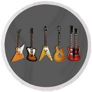 Gibson Electric Guitar Collection Round Beach Towel