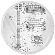 Gibson Les Paul Electric Guitar Patent Round Beach Towel by Taylan Apukovska