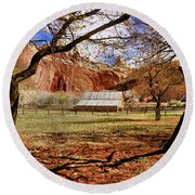 Gifford Barn 3 Round Beach Towel