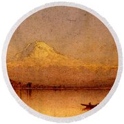 Gifford Sanford Robinson Mount Rainier Bay Of Tacoma Round Beach Towel