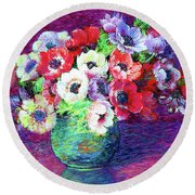 Gift Of Anemones Round Beach Towel
