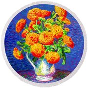 Gift Of Gold, Orange Flowers Round Beach Towel
