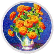 Round Beach Towel featuring the painting Gift Of Gold, Orange Flowers by Jane Small
