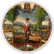 Gift For The Grangers 1873 Victoiran National Grange Agriculture Promotional Art Round Beach Towel