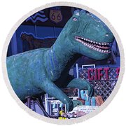 Gift Shop Dinosaur Route 66 Round Beach Towel