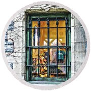 Round Beach Towel featuring the photograph Gift Shop Window by Sandy Moulder