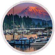 Gig Harbor Dusk Round Beach Towel