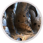 Gigeresque Natural Cave Round Beach Towel by Hal Tenny