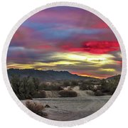 Gila Mountains And Sonoran Desert Sunrise Round Beach Towel by Robert Bales