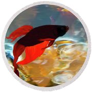 Round Beach Towel featuring the painting Gilberts Red Beta by Patricia Griffin Brett