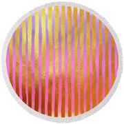 Gilded Cage Gilt Gold Foil Stripes Over Round Beach Towel