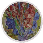 Gilded Flowers Round Beach Towel