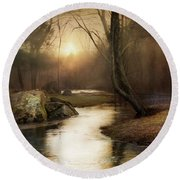 Round Beach Towel featuring the photograph Gilded Woodland by Robin-Lee Vieira