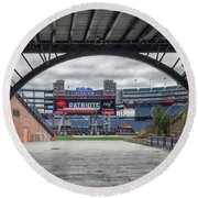 Gillette Stadium And The Four Super Bowl Banners Round Beach Towel by Brian MacLean