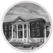 Round Beach Towel featuring the painting Gilmer County Old Courthouse - Black And White by Jan Dappen
