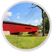 Gilpin's Falls Covered Bridge Round Beach Towel