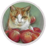 Ginger And White Cat Among The Tomatoes Round Beach Towel