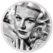 Ginger Rogers, Vintage Actress And Dancer By Js Round Beach Towel